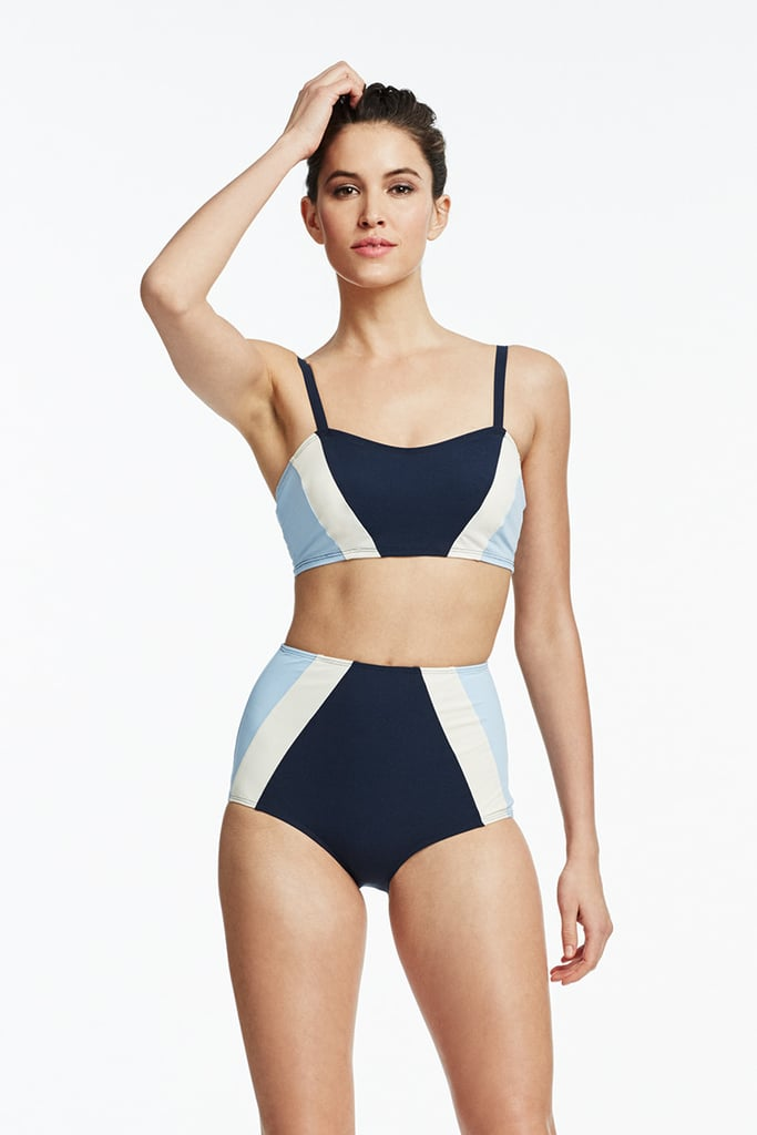 Shop Flagpole's Perry Bikini Top ($200), which features diagonal stripes in just the right formation to give off the illusion of a fuller bust.