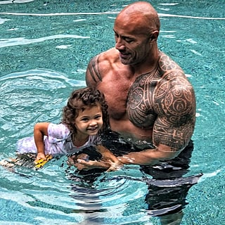 Dwayne Johnson Gives His Daughter Swimming Lessons