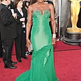 Viola Davis had us seeing green at the Oscars in a formfitting, and chest-baring, Vera Wang gown.