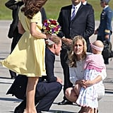 Prince William knelt down to chat with his tiny, young fan.