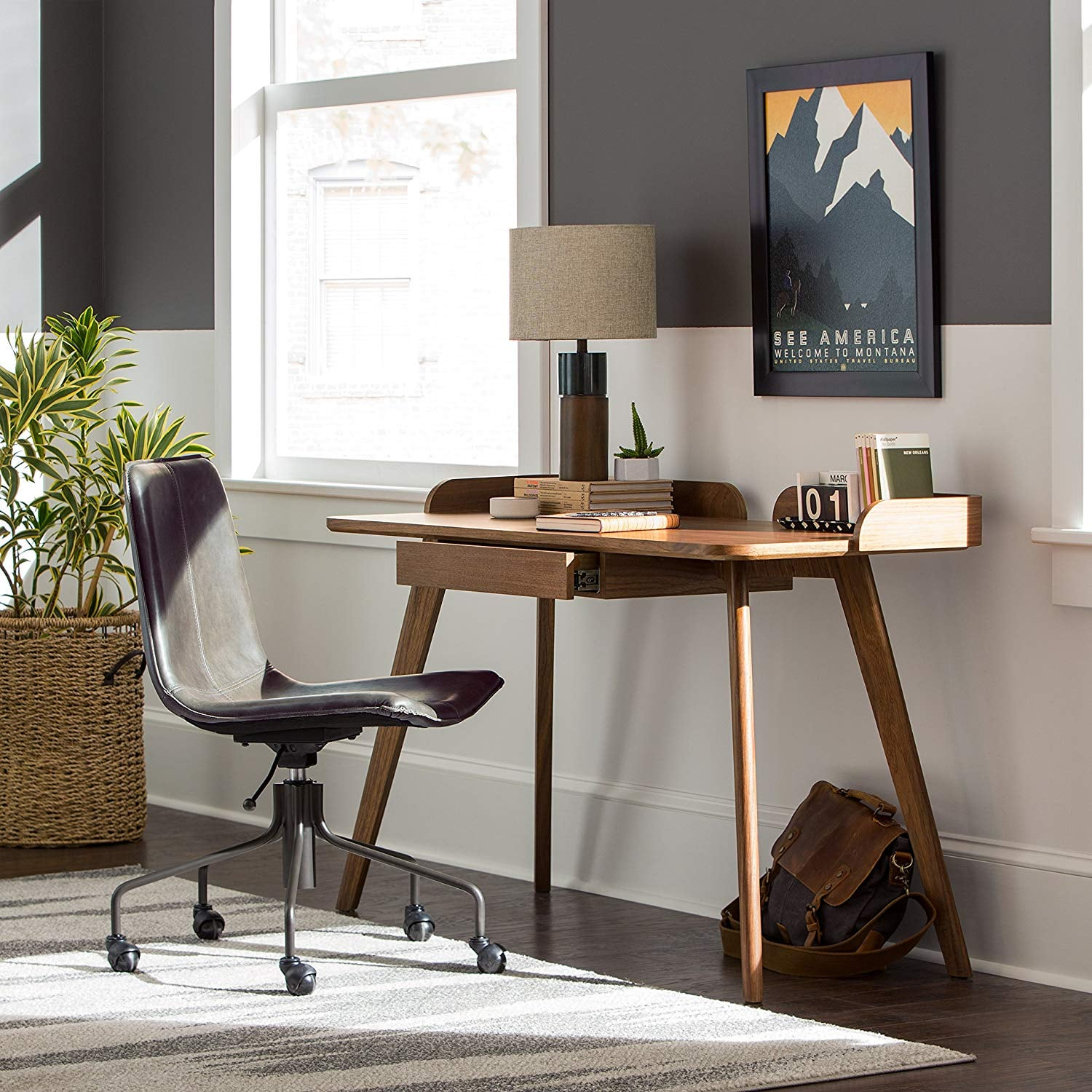 Rivet Mid-Century Curved Wood Home Office Computer Desk ...