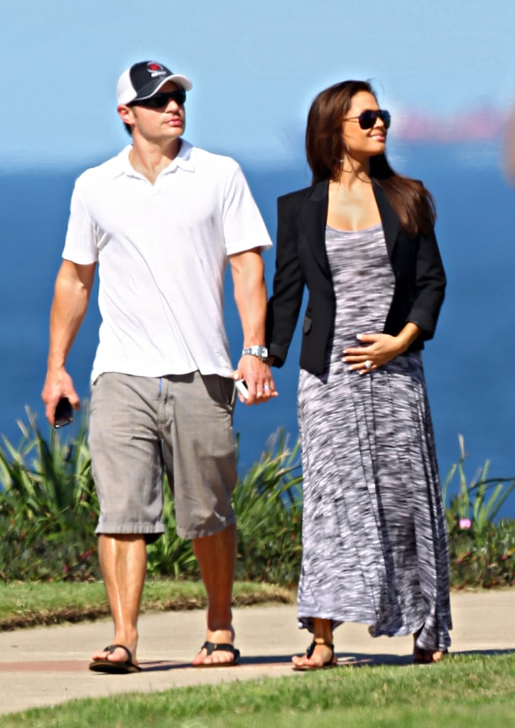 Nick and Vanessa Lachey went for a walk along the coast near Coogee Beach in Sydney today. The couple, who are expecting their first child together, traveled to Australia at the beginning of the week and have been touring the area and relaxing. Nick and Vanessa visited the Sydney Zoo on Tuesday and yesterday Vanessa enjoyed a prenatal massage. Their trip, which is Vanessa's first to the country, might also include a night out for the opening of the new Marquee nightclub. Paris Hilton is expected to attend since her boyfriend, Afrojack, is DJing the party. Nick might soon be the one taking the stage though, if rumors that his former band, 98 Degrees, is reuniting for a tour are true.