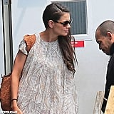 Katie Holmes headed to catch a helicopter out of NYC.