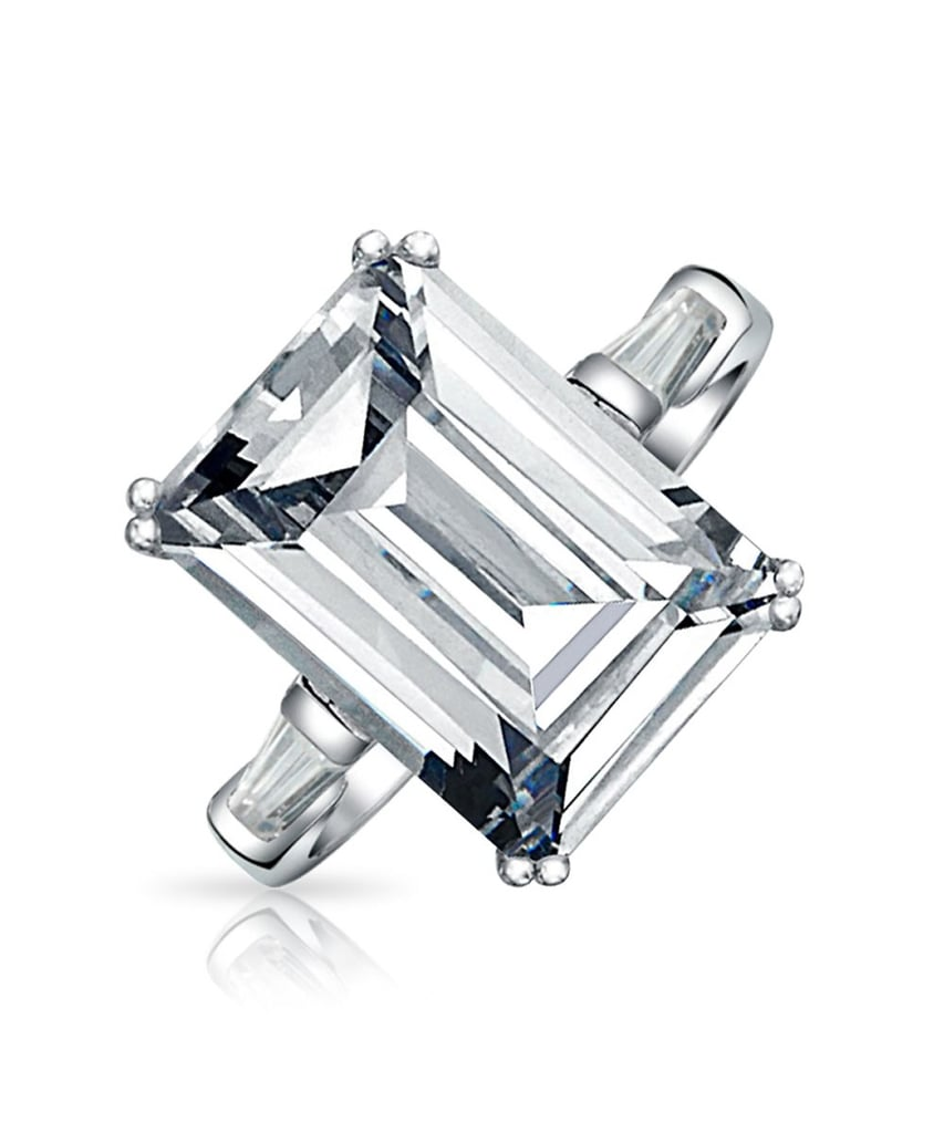 Bling Jewelry Sterling Silver Emerald Cut Engagement Ring