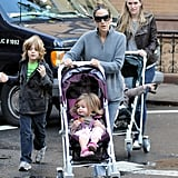 James Wilkie was joined by his sisters and SJP on the morning walk to school.