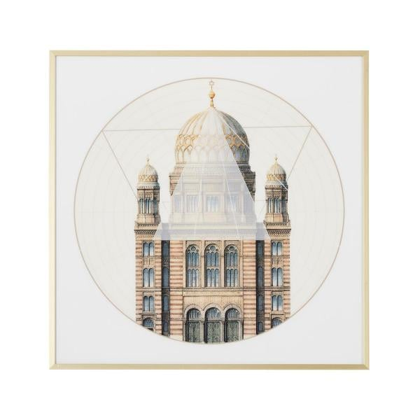 Jennifer Taylor Home Geometric Architecture 'No. 2' Print Wall Art with Gold