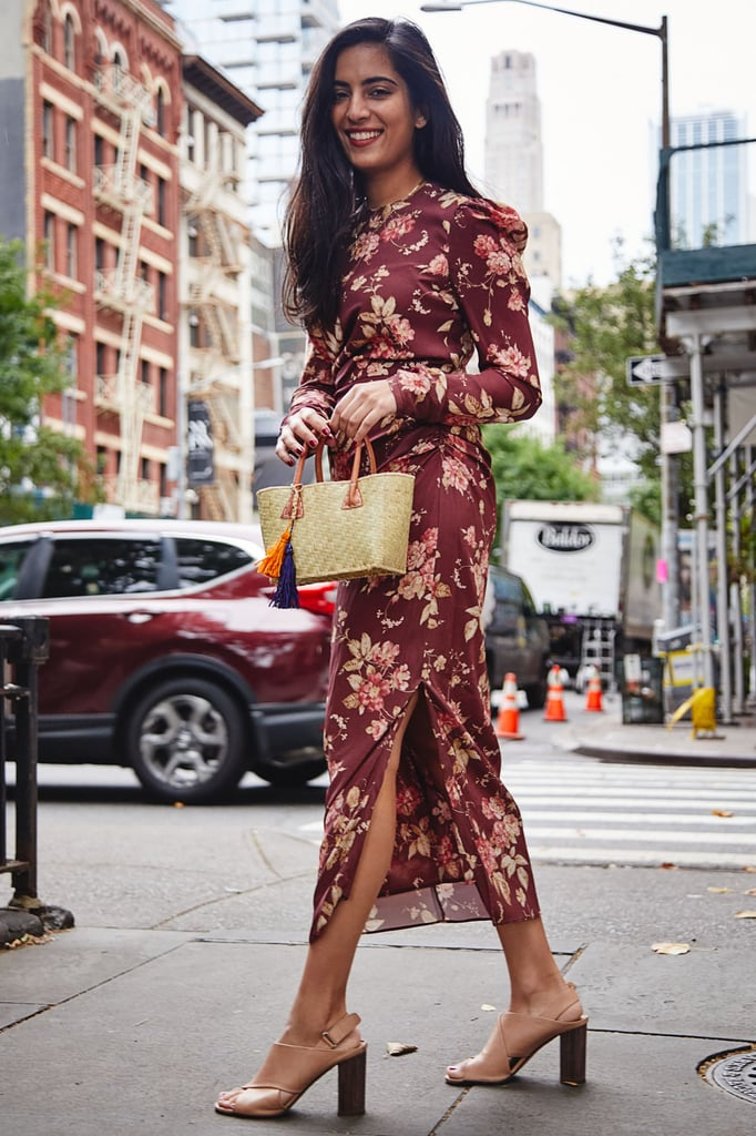 Style a Long-Sleeved Floral Dress With Block Heels