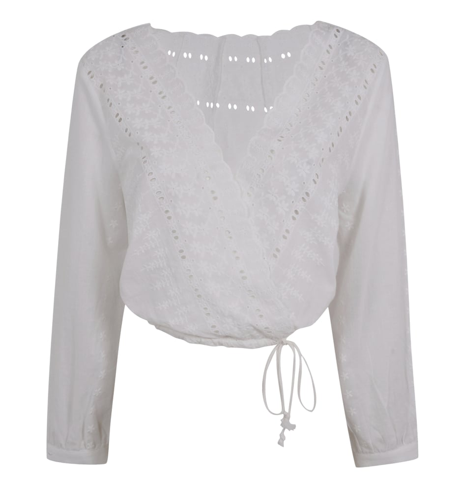 Kendall + Kylie Embroidered Wrap Front Top