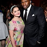 Ariel Winter posted with 50 Cent at Fox's Globes party.