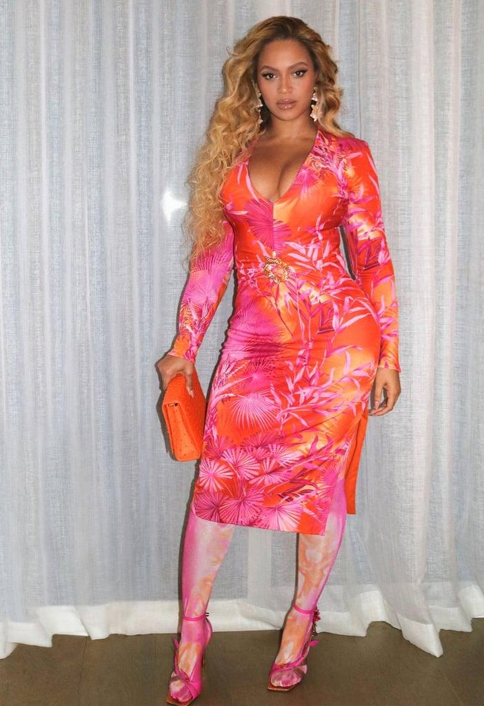 Beyoncé Wore Pink and Orange Tropical Print Dress in Miami