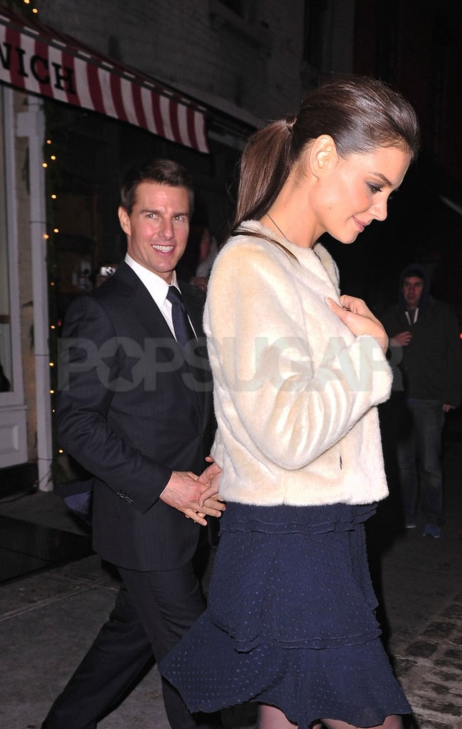 Katie Holmes and Tom Cruise headed home from a party at The Meatball Shop in NYC.