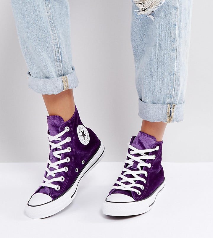 Converse Chuck Taylor High Sneakers In Purple Velvet