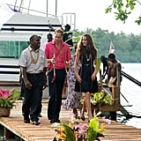 Prince William wore a bright pink shirt with Kate Middlton after arriving in Tuvanipupu.
