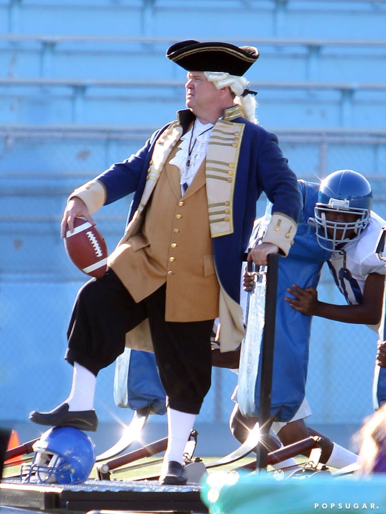 Eric Stonestreet dressed up as George Washington to film with a football team on the Modern Family set in LA.