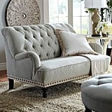 Chas Blue and White Seersucker Loveseat