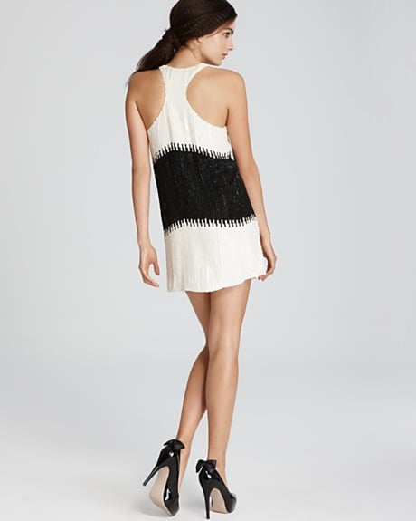 A cool racerback helps puts a sporty spin on sequins and a mini hemline. The perfect party dress.  Parker Sequin Colorblock Dress With Racerback ($352)