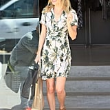 While shopping around LA, Kate showed her love for mother nature styling a palm-tree-print H&M dress with tan ankle-strap sandals in July 2012.