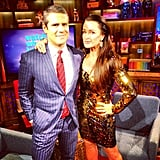 Kyle Richards celebrated the return of The Real Housewives of Beverly Hills with Andy Cohen. Source: Instagram user bravoandy