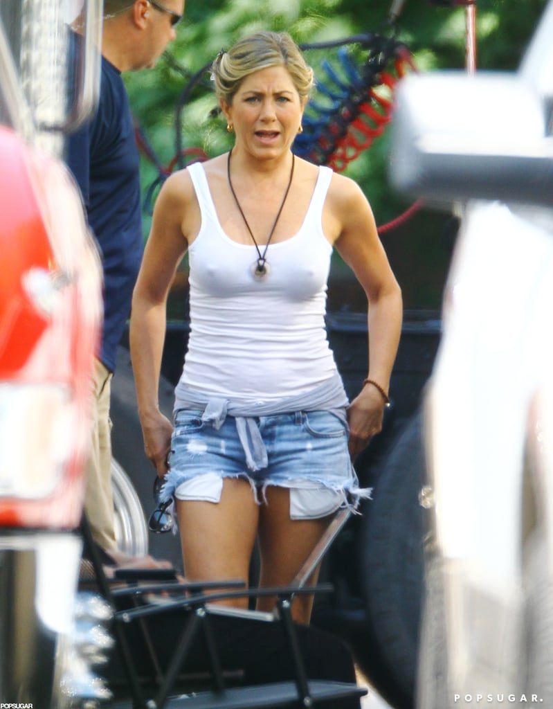 Jennifer Aniston wore a revealing white tank top on the set of We're the Millers.