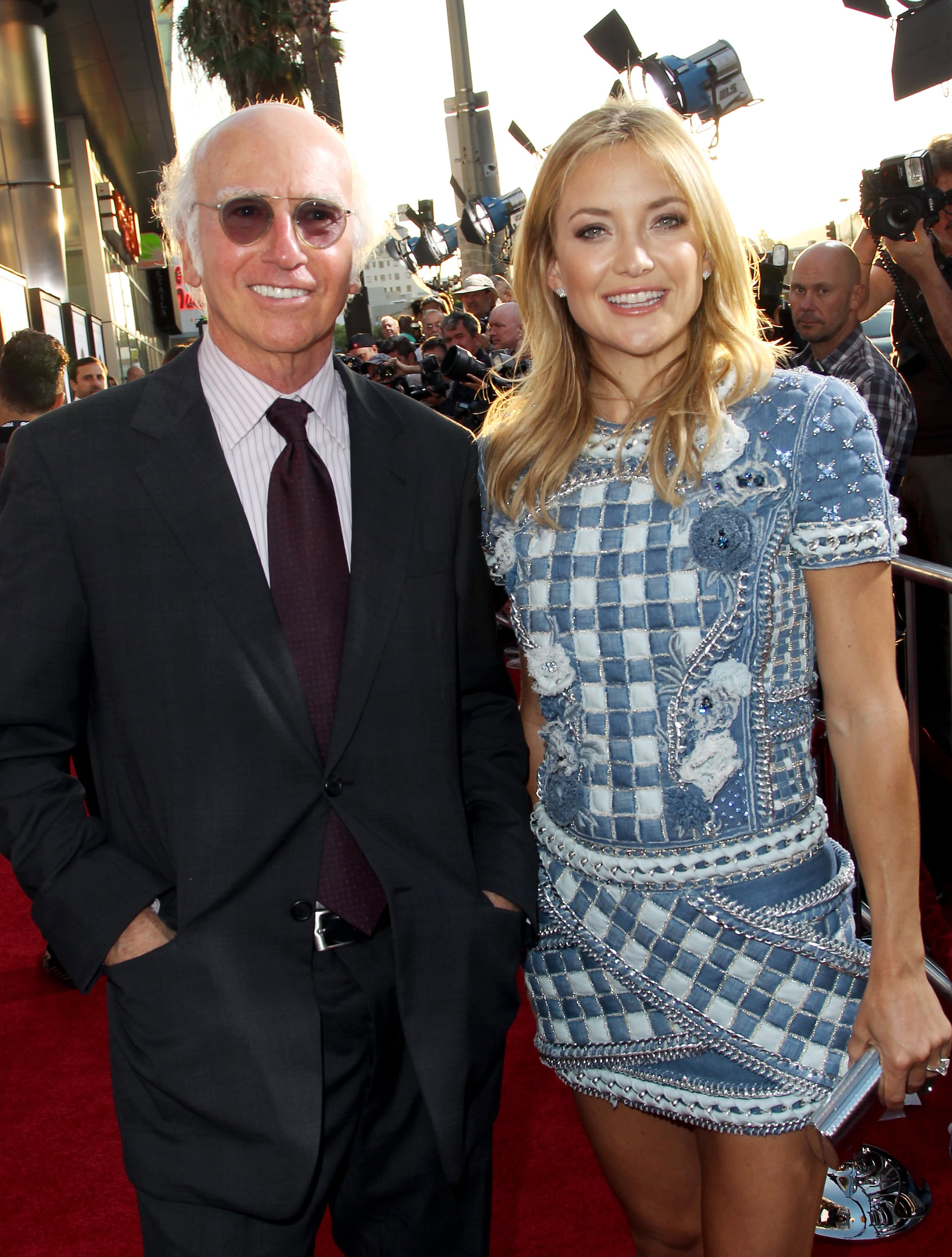 Kate Hudson, wearing Dana Rebecca Designs earrings, met up with Larry David on the red carpet.