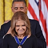 President Obama presented a medal to women's rights activist Gloria Steinem.