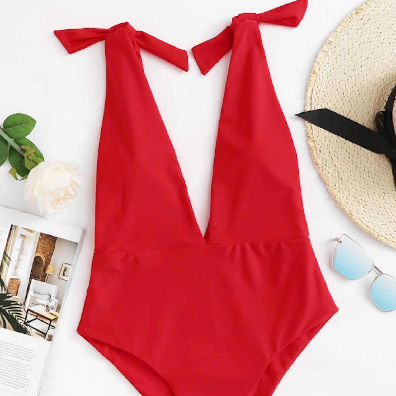 2b6a81ee616cc Boohoo Petite Beth Leaf Print Swimsuit