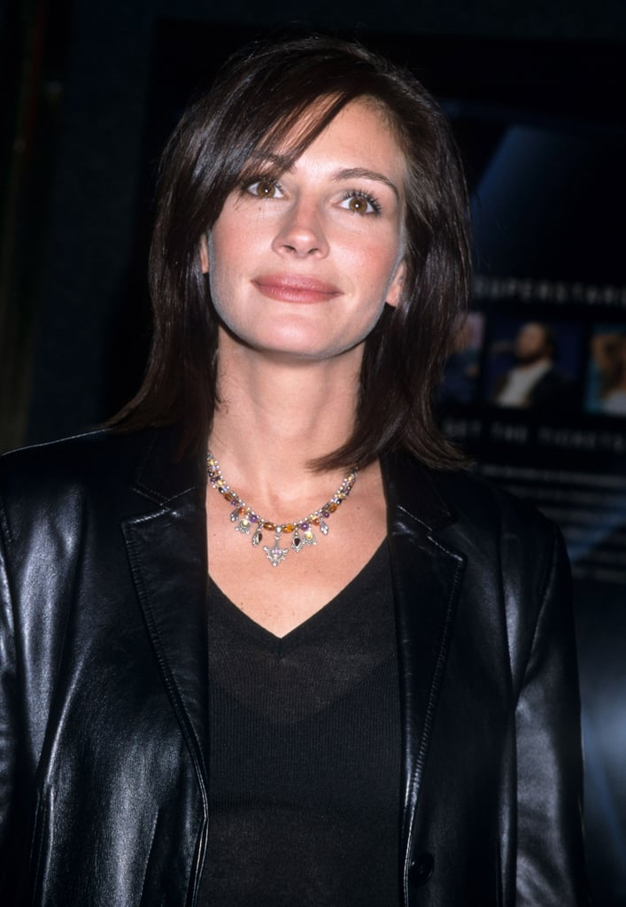 Julia Roberts With Dark Brown Straight Hair And Side