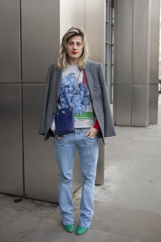 A printed sweatshirt gave a modern touch — and cool color story — to a classic blazer and worn boyfriend denim.