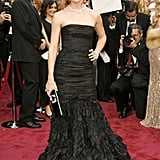 2008: She looked gorgeous in a black strapless gown.