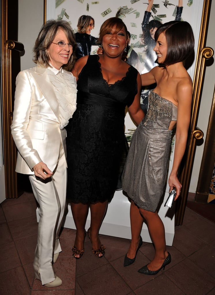 Katie Holmes shared a laugh with her Mad Money costars, Diane Keaton and Queen Latifah, at the film's LA premiere in January 2008.