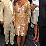 Beyoncé Knowles checked out the wares at J.Crew's presentation.