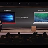 The comparison between the Surface Pro 4 and the MacBook Air.