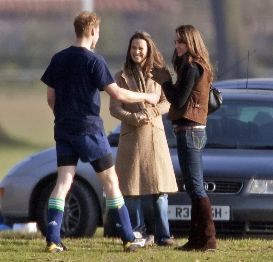 The sisters chatted with Kate's then-boyfriend Prince William after he participated in the Field Game at Eton College in 2006.