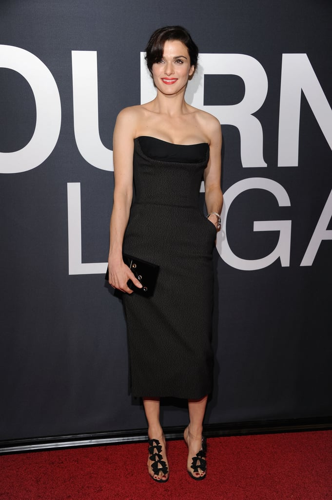 Rachel Weisz's black strapless Christian Dior gown and Christian Louboutin bow sandals were a dynamic duo at The Bourne Legacy premiere in NYC.