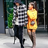 Ariana stepped out with Pete Davidson in June, sporting a gold Cloney Benji hoodie, custom Giuseppe Zanotti boots, a Louis Vuitton minibag, and Harry Kotlar jewels.