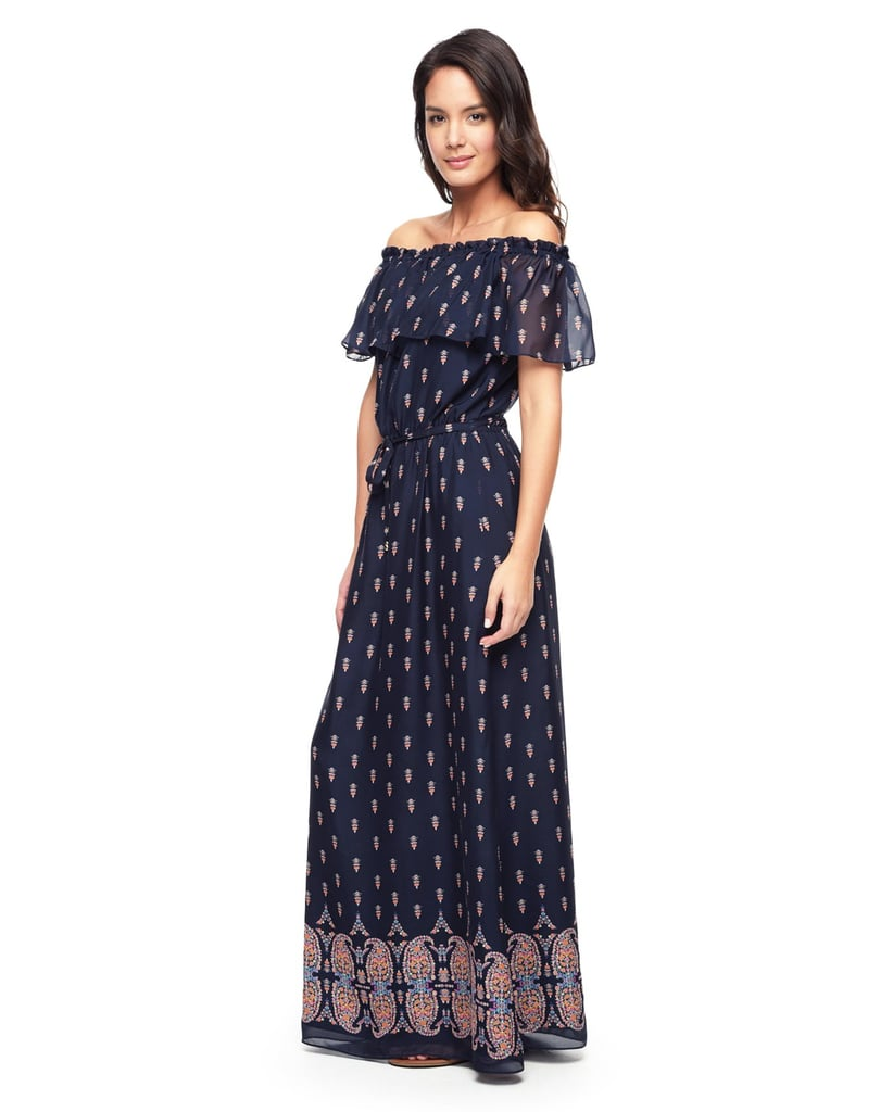 We fell in love with this Juicy Couture off-the-shoulder maxi dress ($328) instantly. It's on trend with its bohemian-inspired silhouette, and it's breezy enough to take you through the Summer heat.