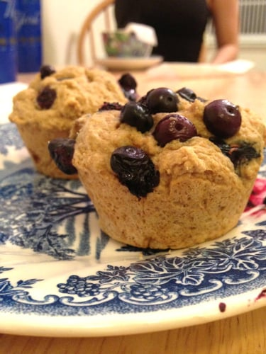 Vegan, Whole Wheat Blueberry Scone Muffins
