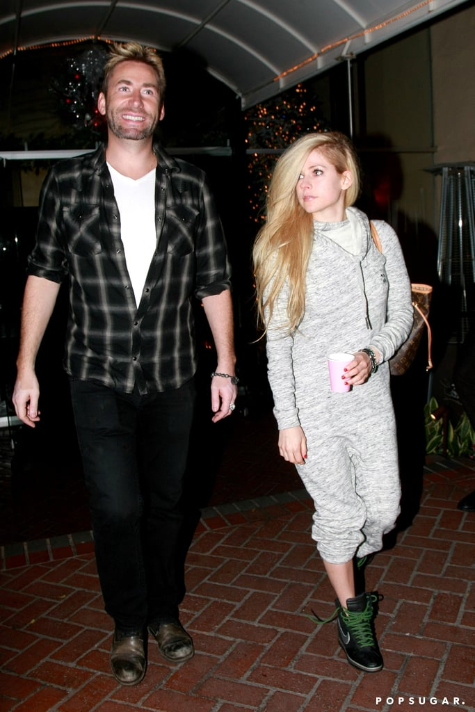 """Avril Lavigne and Chad Kroeger may have separated three months ago, but these two still look to be on good terms. On Thursday night, Chad flashed the biggest grin while exiting the Sunset Marquis hotel in LA with his ex-wife, Avril. You may remember Avril announcing her split from Chad on Instagram back in September. In her post, Avril acknowledged the """"unforgettable moments"""" they shared throughout their relationship and added, """"We are still, and forever will be, the best of friends, and will always care deeply for each other."""" Although it is unclear whether these two have rekindled their romance or are just friendly exes, keep reading to see the photos, and then check out the biggest celebrity breakups of 2015."""