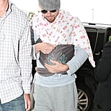 Channing Tatum held his daughter, Everly, in her carrier at LAX.