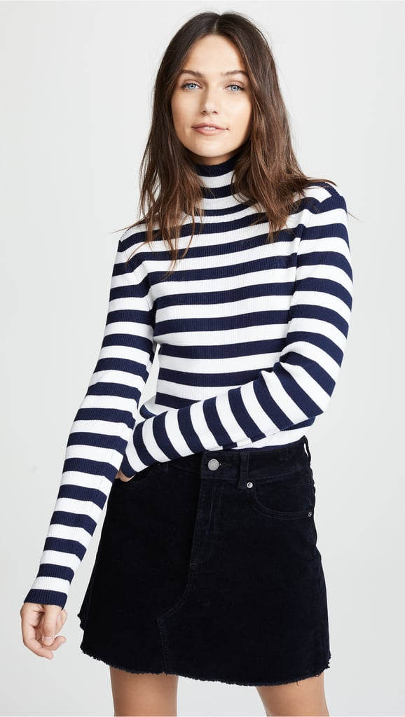 Tory Sport Striped Ribbed Merino Turtleneck Sweater