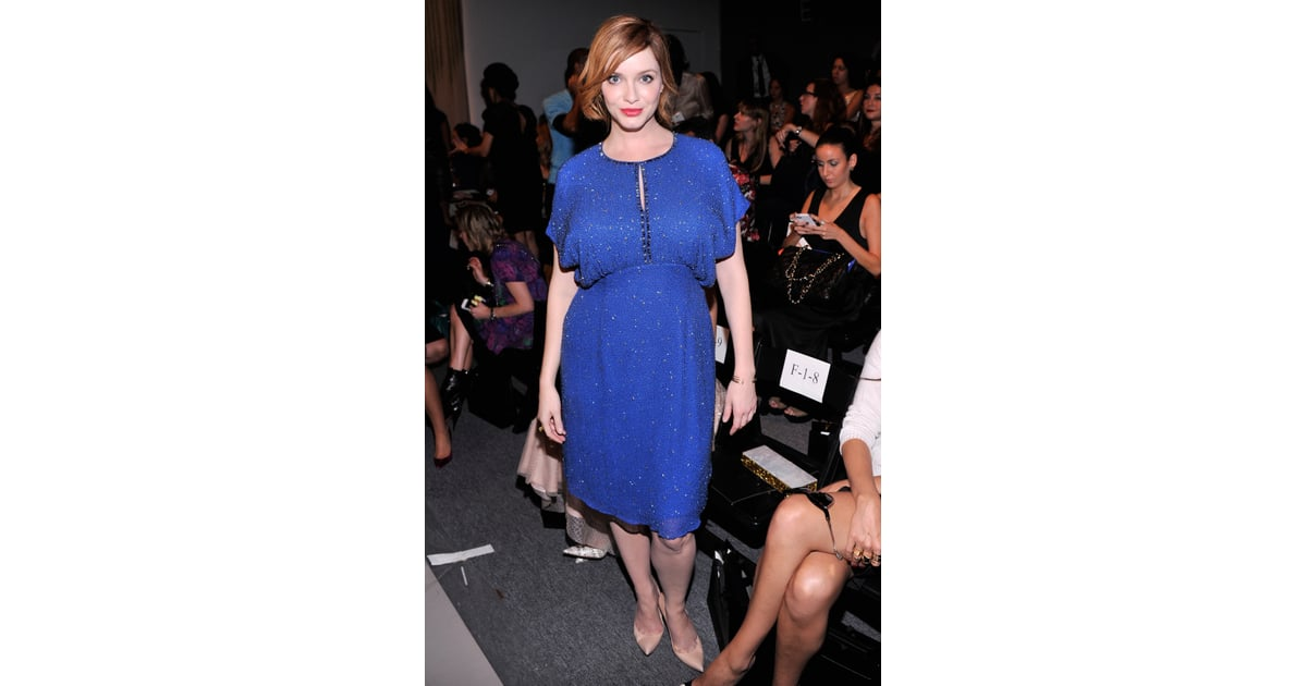 Christina Hendricks dazzled in an electric blue ...