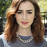 We love Lily's brushed-out waves and ruddy peach lipstick while promoting The Mortal Instruments in Glendale, CA.