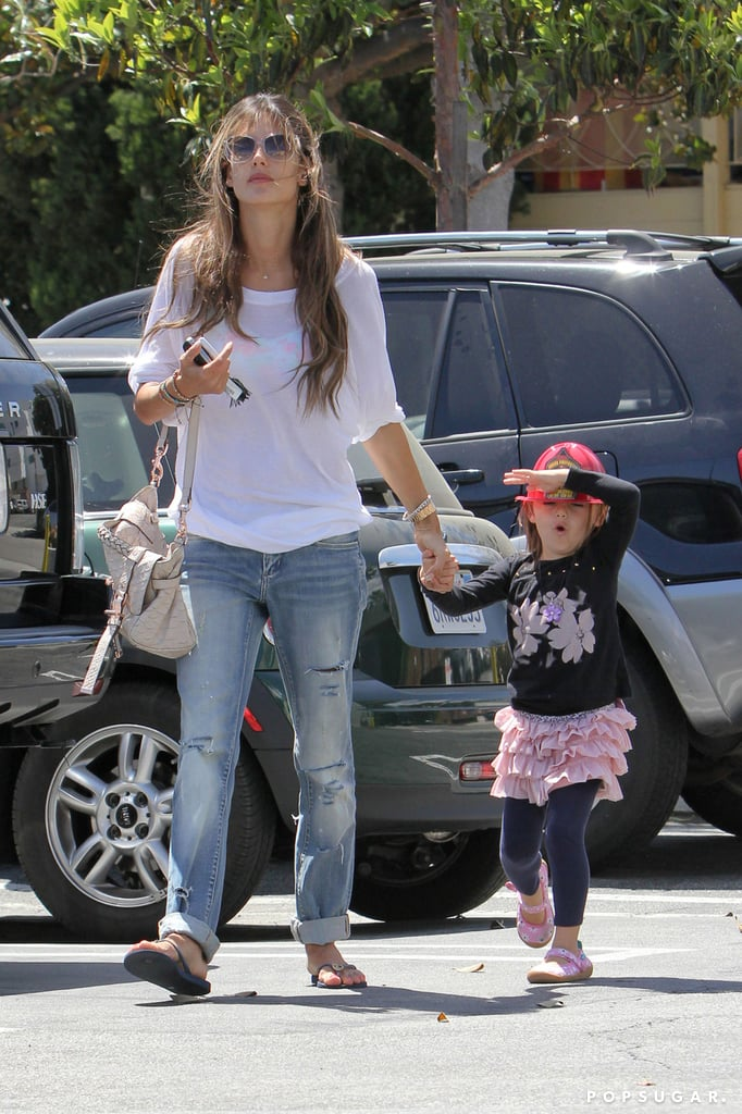 Alessandra Ambrosio walked with her daughter, Anja Mazur, in LA.