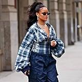 Rihanna Wearing Blue Fenty Puma Track Pants