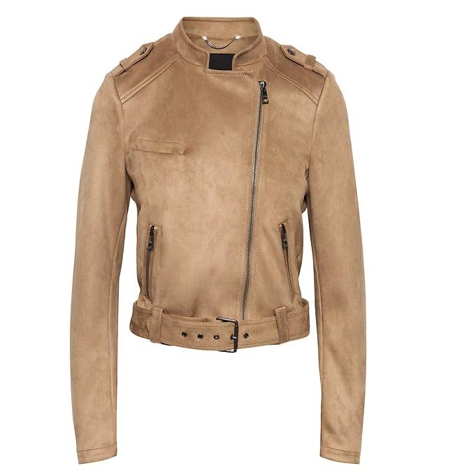 Vegan Stretch Suede Moto Jacket