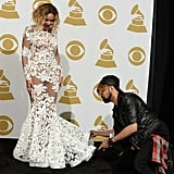 Beyoncé in Michael Costello at the 2014 Grammys