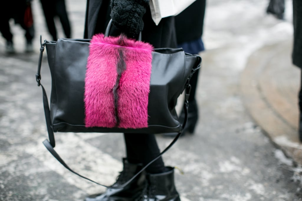 A little pink fur goes a long way on this tote.