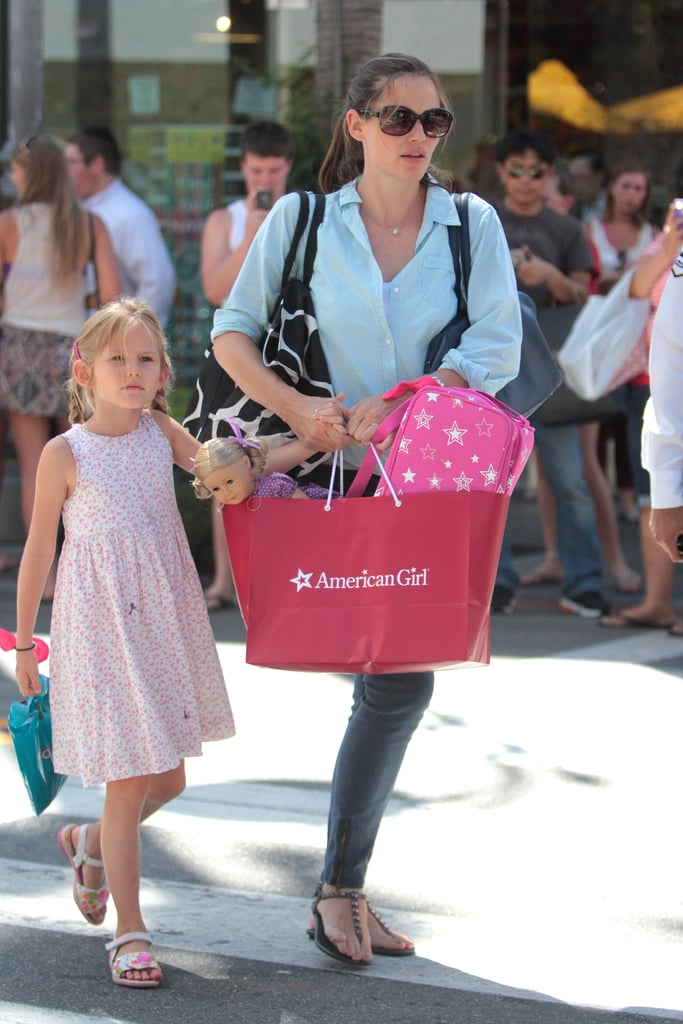 Jennifer Garner was solo to visit an LA office building yesterday afternoon, but later on, she reported to the Grove to meet up with her daughter Violet Affleck, who'd arrived with a nanny. Jennifer and Violet stopped to shop at an American Girl store, and left with a bag full of toys. Jennifer's been having a fun week with both of her daughters, Violet and Seraphina. Jennifer, Violet, and Seraphina were together Tuesday afternoon for another fun outing in town. The girls are wrapping up their first Summer with new addition Samuel Affleck. Six-month-old Samuel Affleck is partaking in family fun more and more and even accompanied Jennifer to NYC earlier this month.