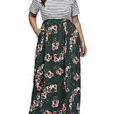 Allegrace Floral Print Striped Maxi Dress