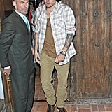 John Mayer was seen leaving an LA restaurant with Katy Perry close behind.